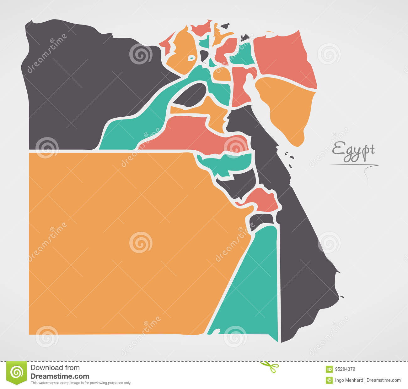 Egypt Map With States And Modern Round Shapes Stock Vector