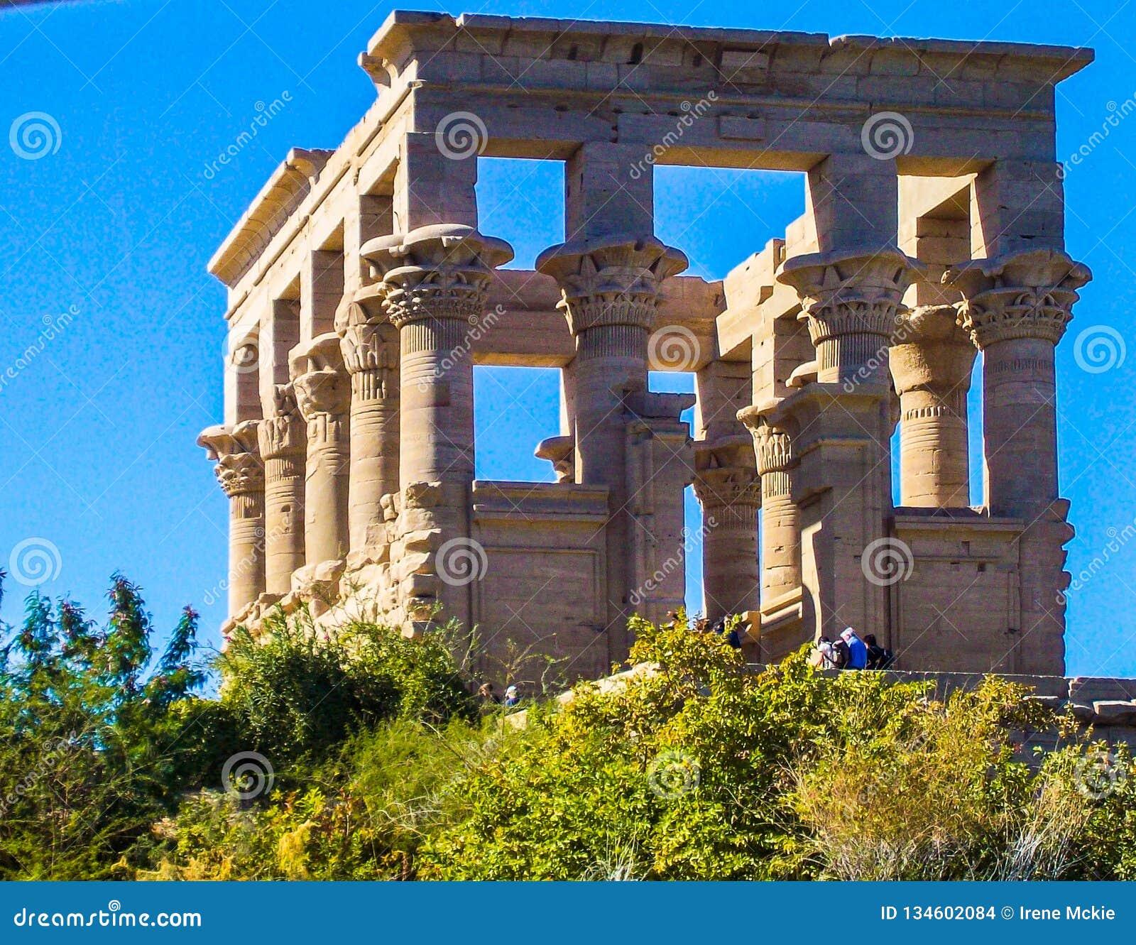 Egypt, Nile, Egyptian temple, ruins, on hillside, square 12 columns, blue sky
