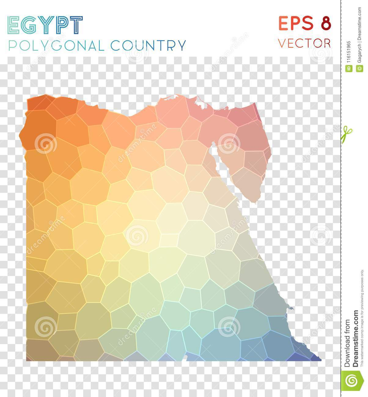 Egypt Polygonal Map Mosaic Style Country Stock Vector