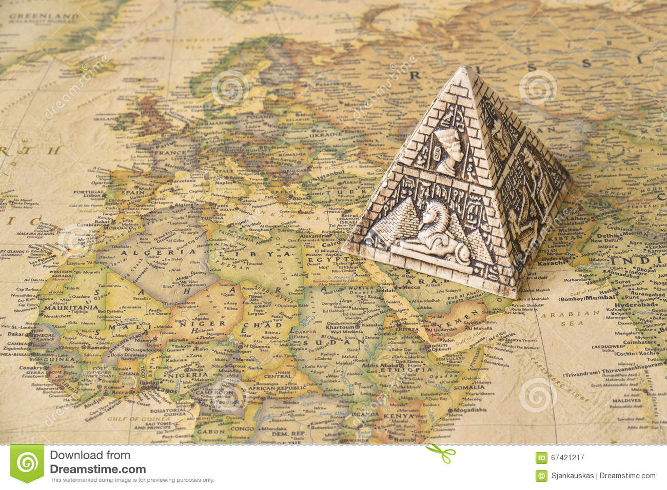 Egypt Pyramid On Map Stock Photo Image - Map of egypt with pyramids