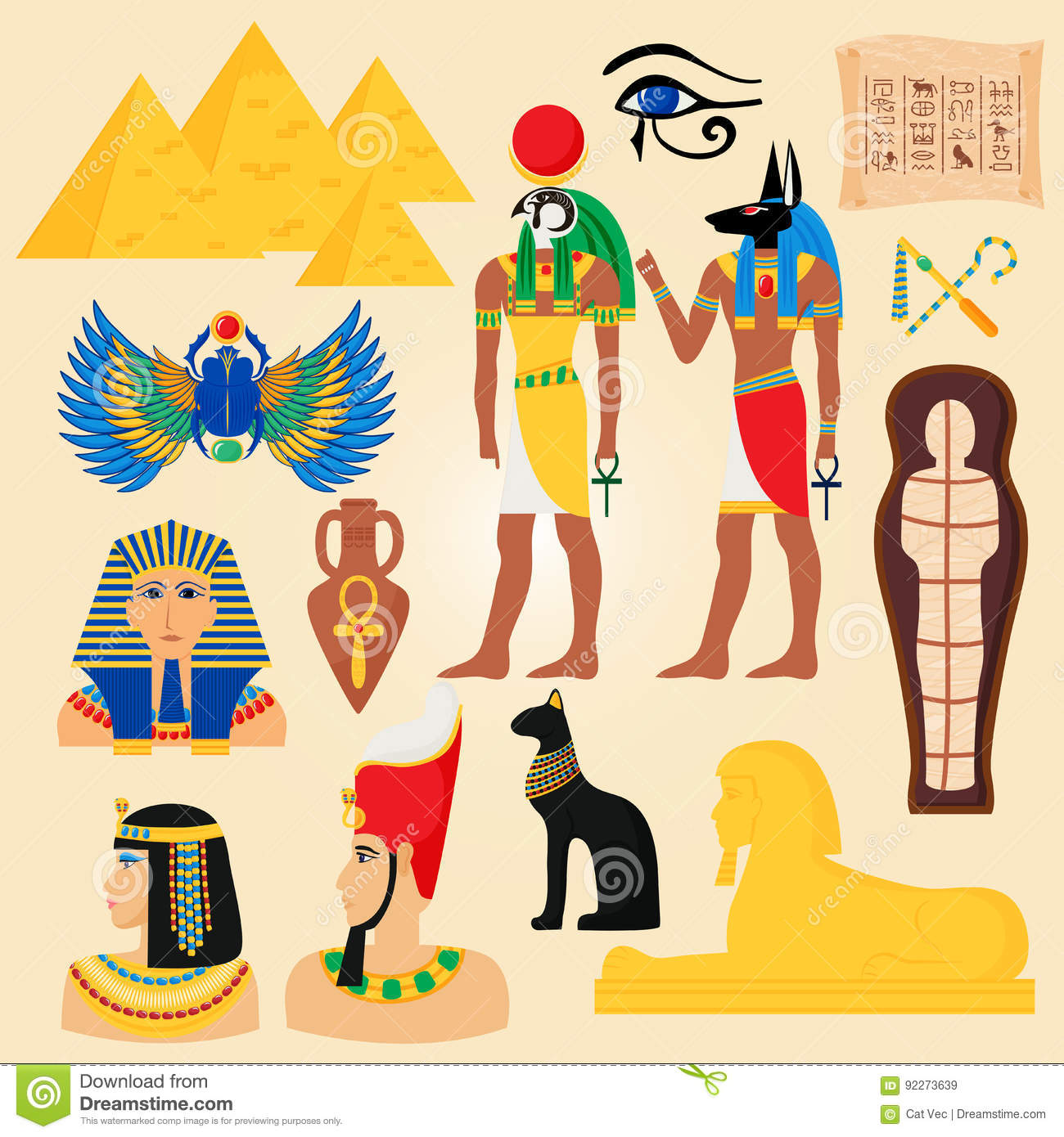 Egypt Symbols And Landmarks Ancient Pyramids Desert Egyptian People