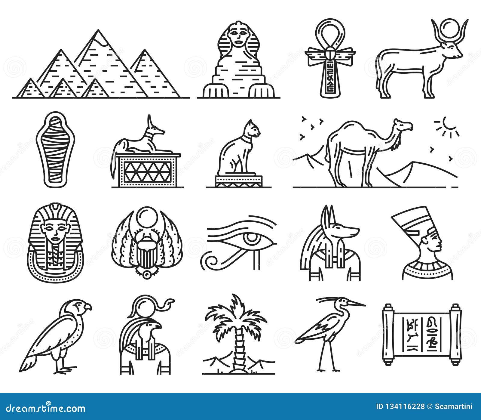 Ancient Egypt Gods, Travel And Religion Symbols Stock Vector