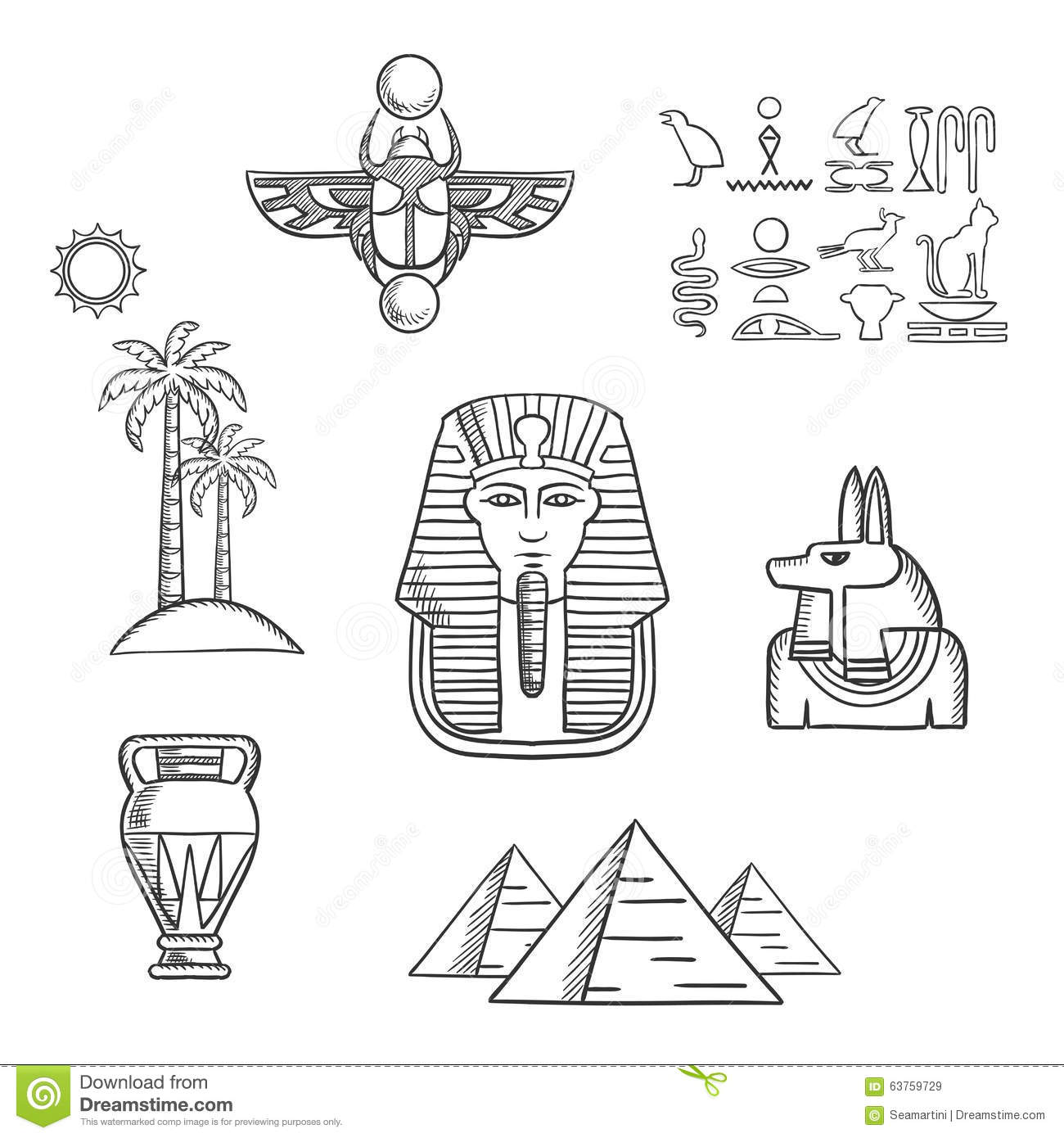 f5108a76717ee Egypt Travel And Ancient Sketch Icons Stock Vector - Illustration of ...