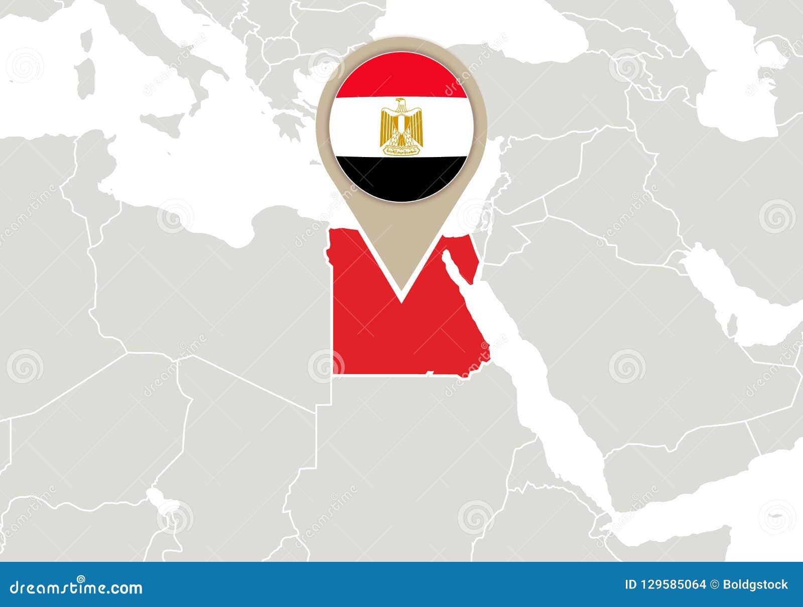 Image of: Egypt On World Map Stock Vector Illustration Of Landmark 129585064