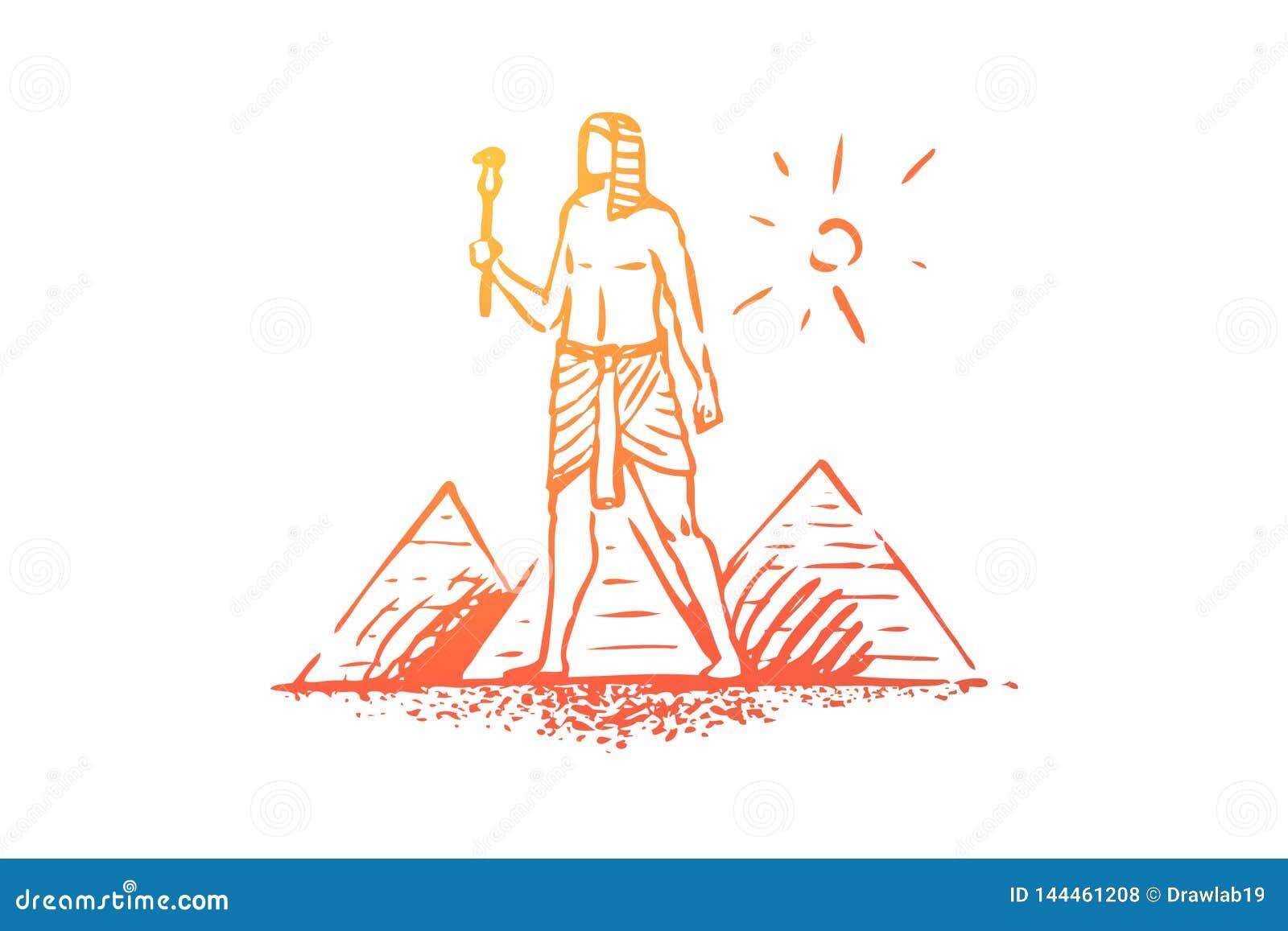 Egypten pyramid, sfinx som är forntida, ökenbegrepp Hand dragen isolerad vektor