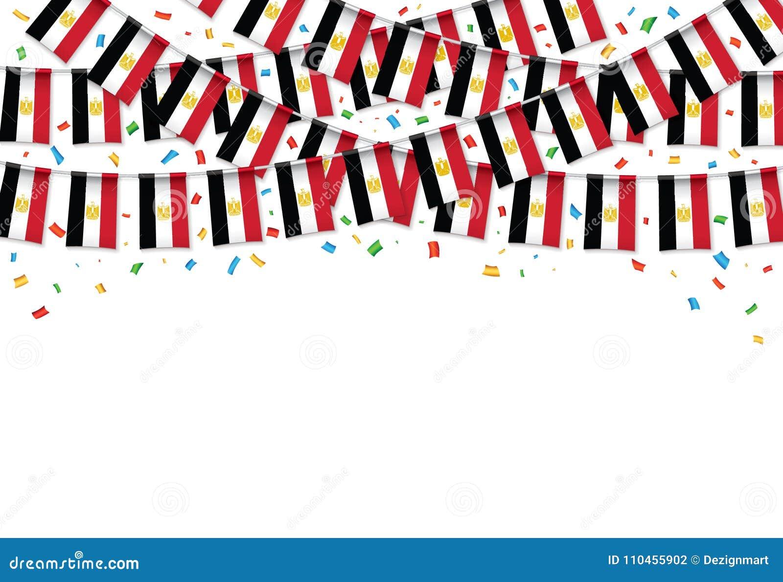 Egypten sjunker vit bakgrund för girlanden med konfettier, hängningbunting för egyptisk självständighetsdagen