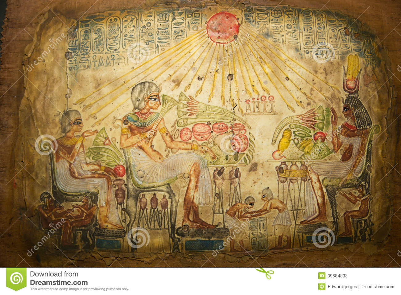 Egyptian art on papyrus stock photo image 39684833 for Egyptian fresco mural painting