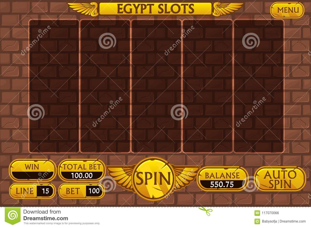 Egyptian background main interface and buttons for casino slot machine game