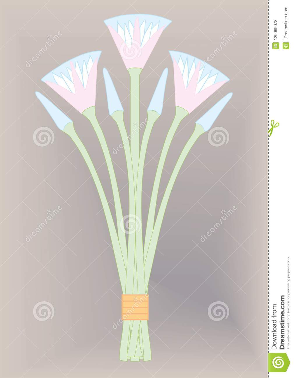 Egyptian Bunch Flowers Stock Illustration Illustration Of Posy