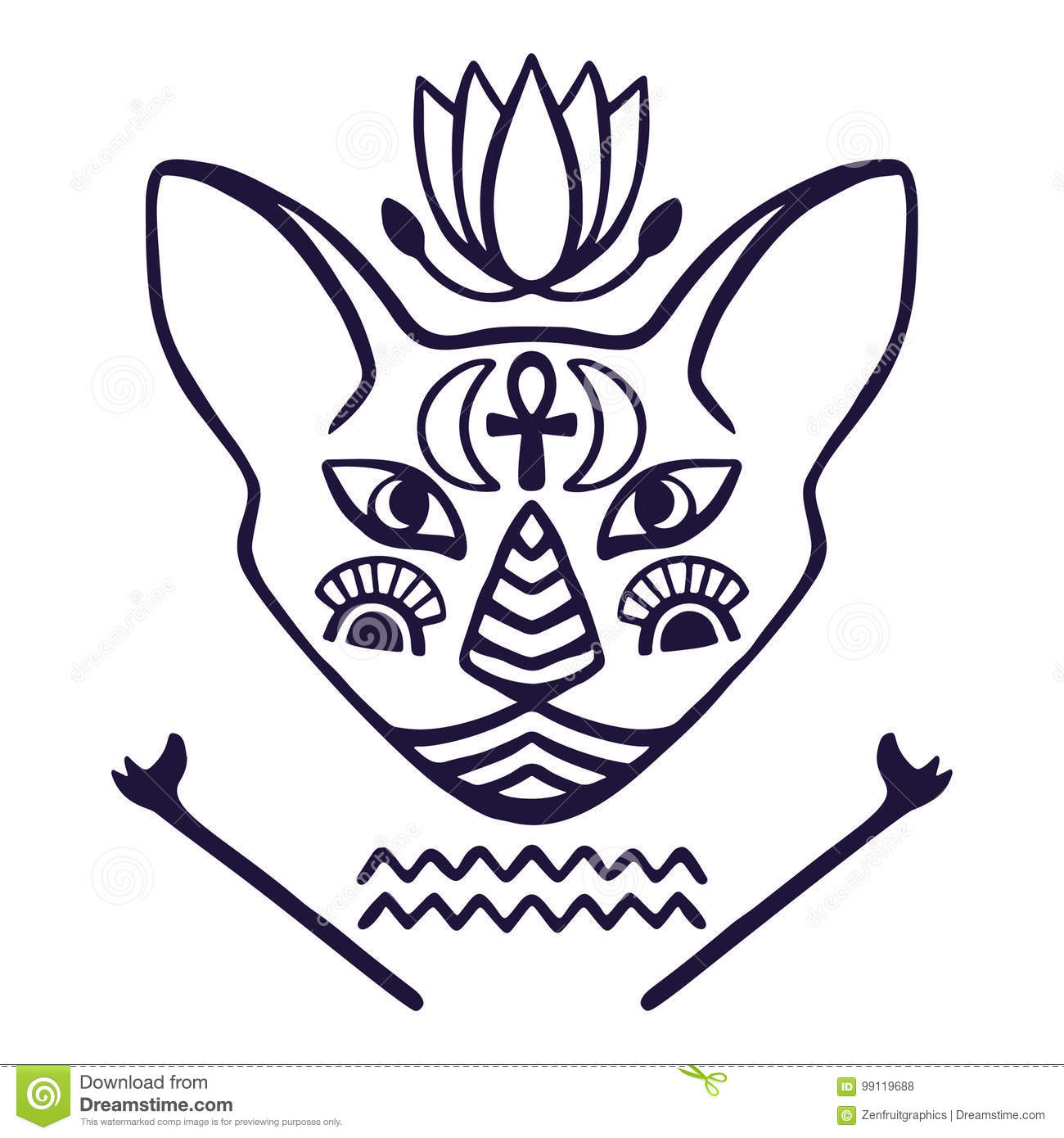 Egyptian Cat Face Vector Sacred Animal Of Ancient Egypt Cat Face