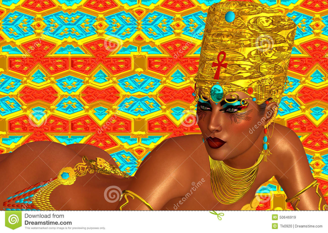 Egyptian, Cleopatra In Our Modern Digital Art Style, Close ...