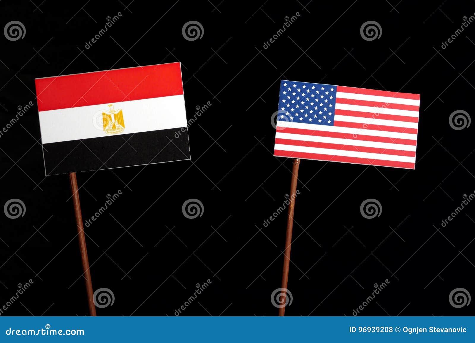 Egyptian flag with USA flag isolated on black