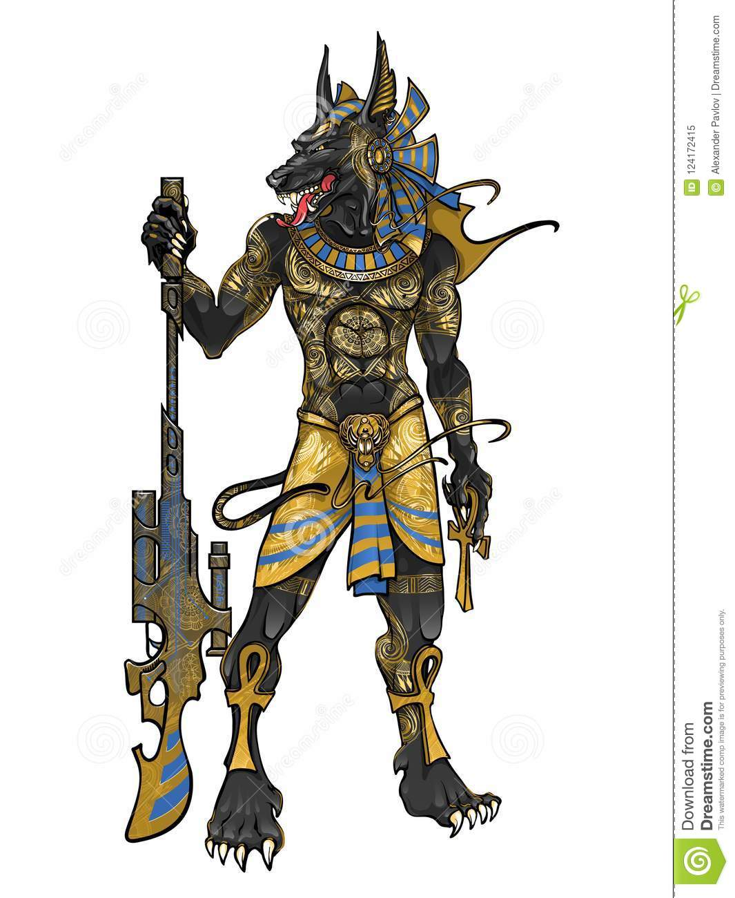 Egyptian God Of Death Anubis With Weapons Stock Illustration