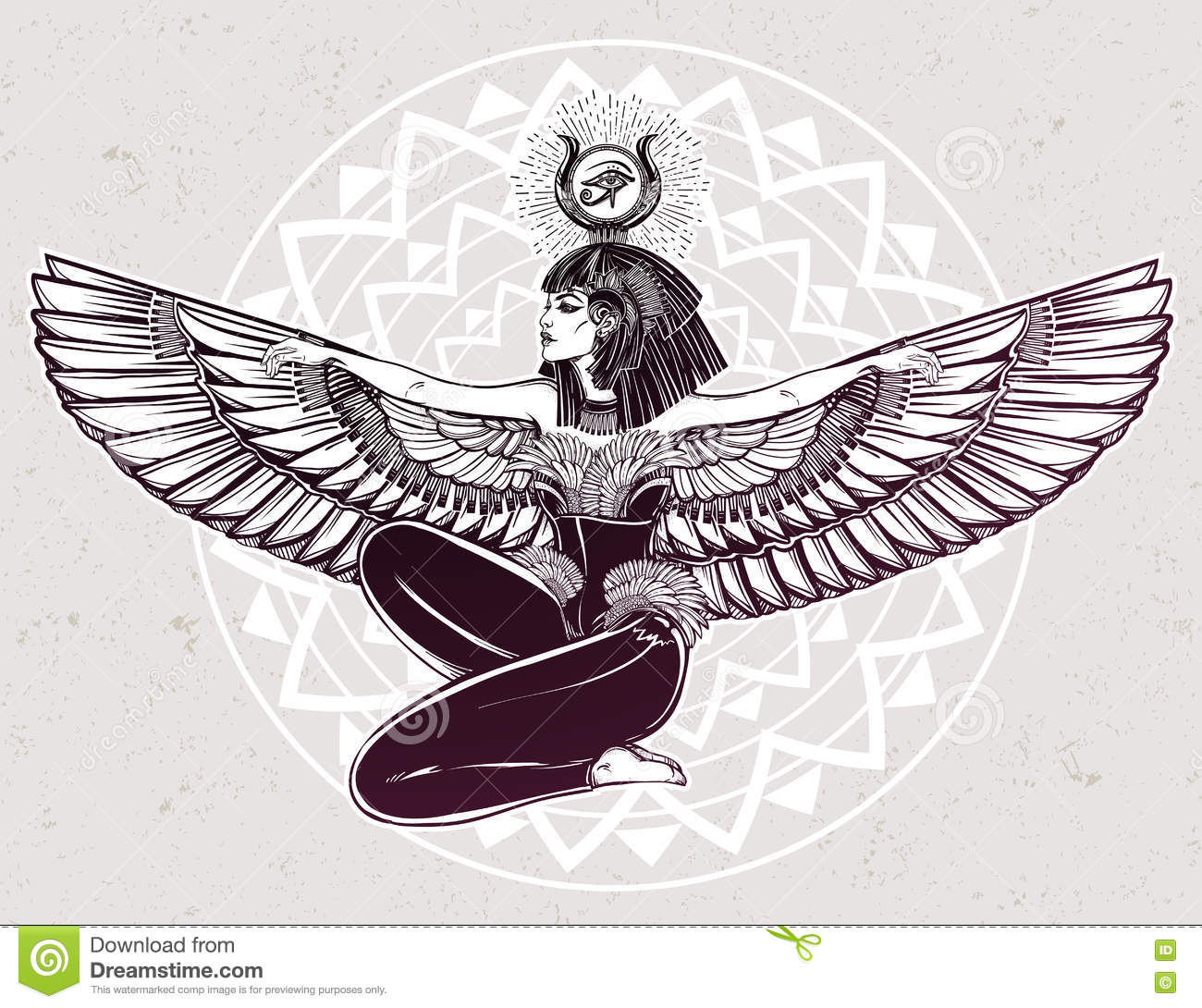 Egyptian godess isis with outstratched wings stock vector egyptian godess isis with outstratched wings biocorpaavc