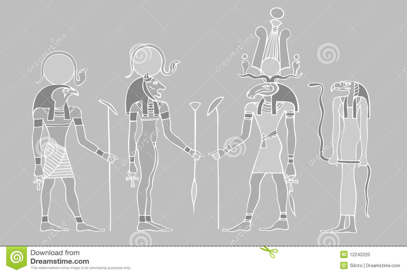 Egyptian Gods And Symbols Stock Vector Illustration Of Africa