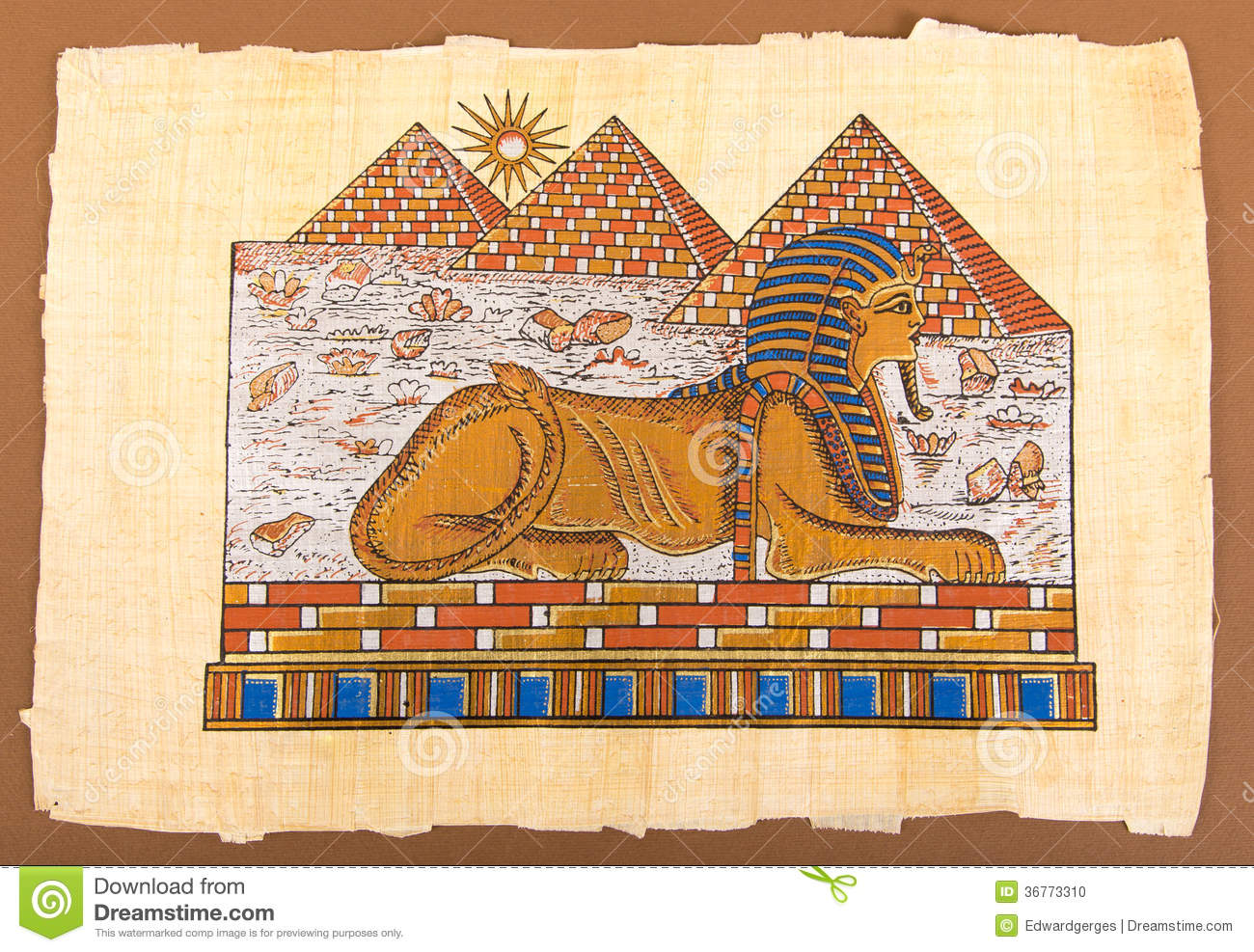 Egyptian Hand Pyramids And Sphinx On Papyrus Stock Photo ...
