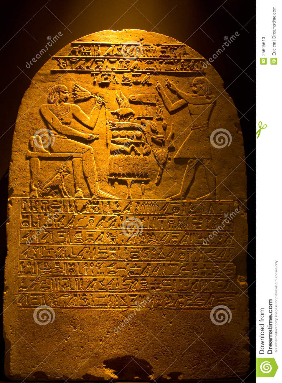 Egyptian hieroglyphics with decoration stock photos for Ancient egyptian tomb decoration