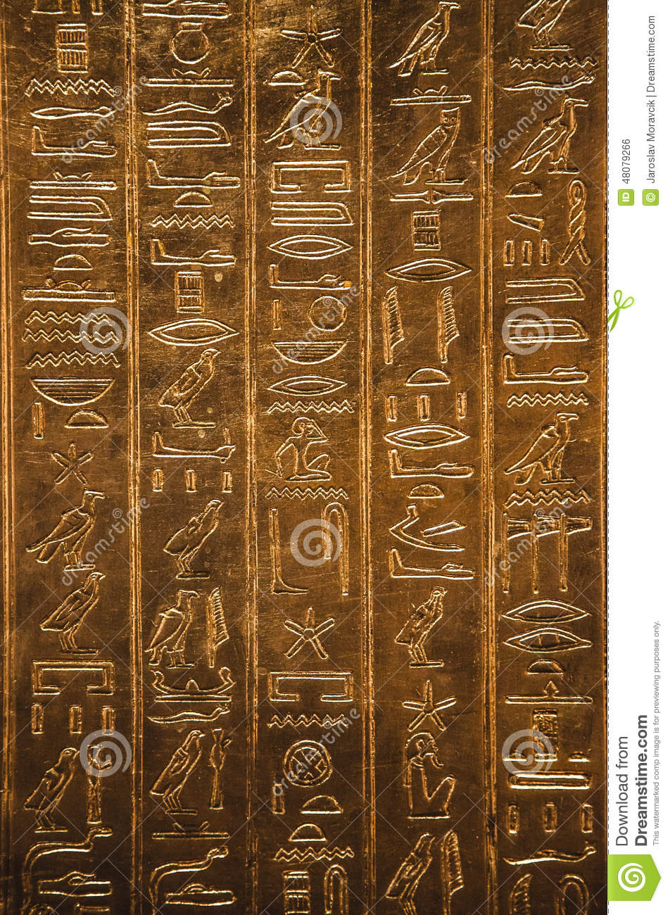 Egyptian Hieroglyphics Stock Photo - Image: 48079266