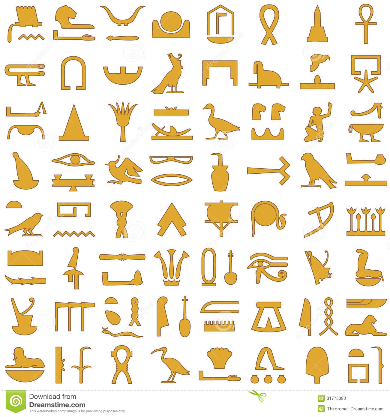 collection of ancient Egyptian symbols.Various Egyptian hieroglyphs.