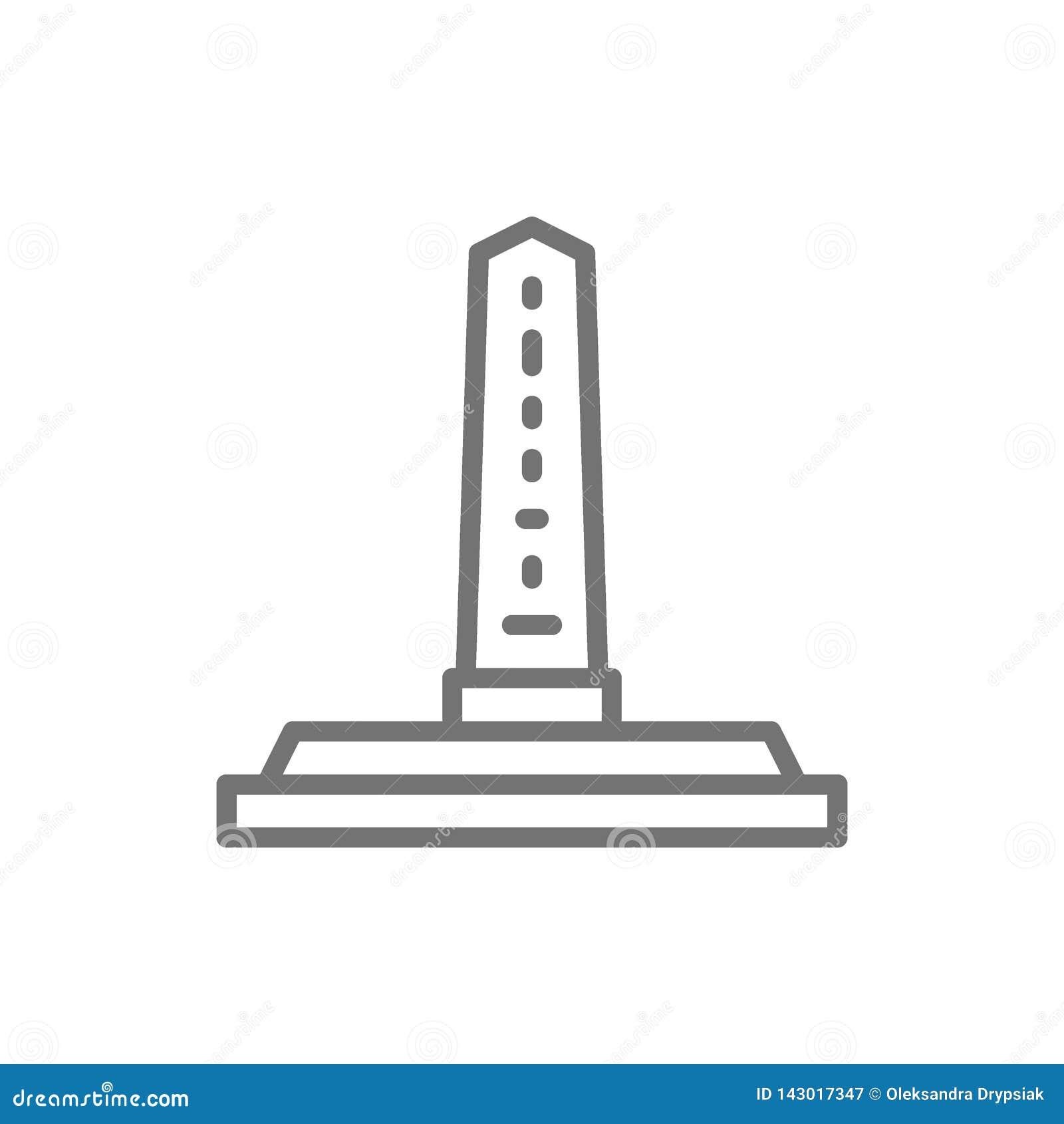 Egyptian obelisks, ancient column line icon.