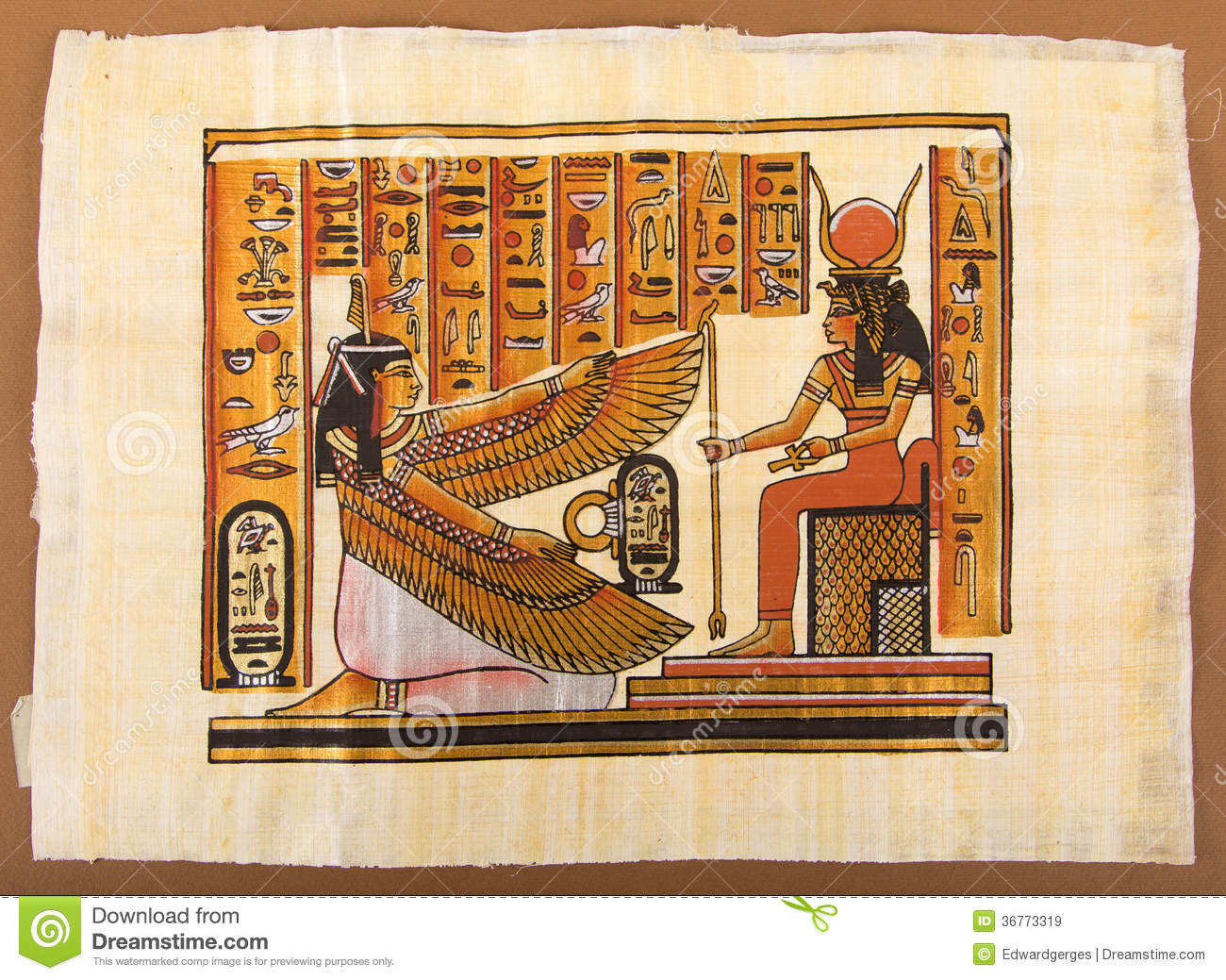 Egyptian painting on papyrus stock image image of for Ancient egyptian mural