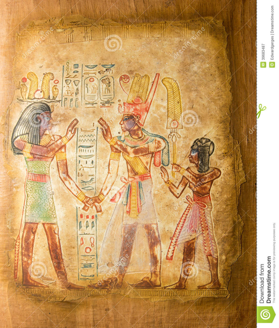 Egyptian painting on papyrus stock photo image 39683487 for Ancient egyptian mural paintings