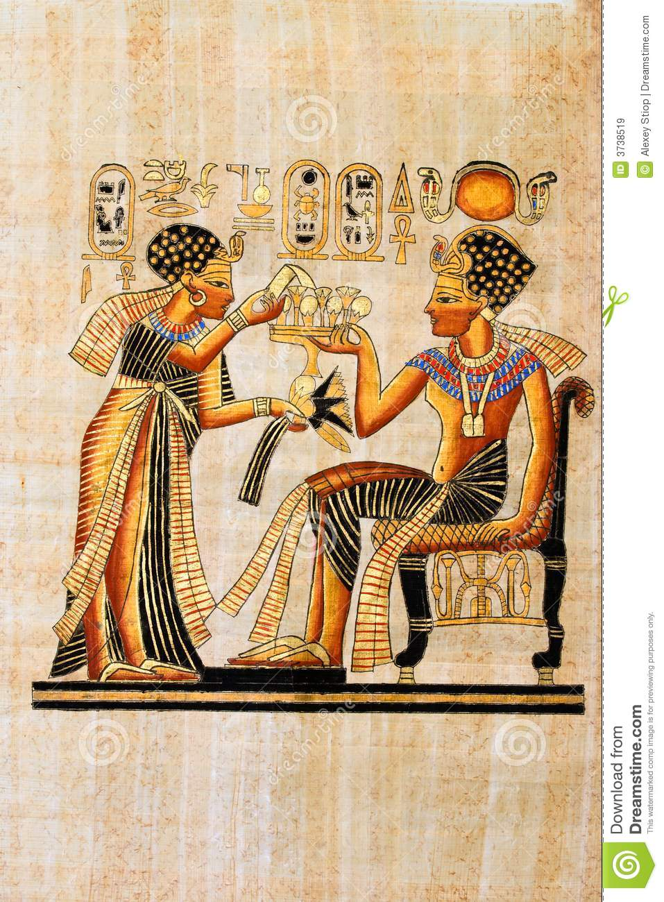 Egyptian papyrus royalty free stock images image 3738519 for Egyptian fresco mural painting