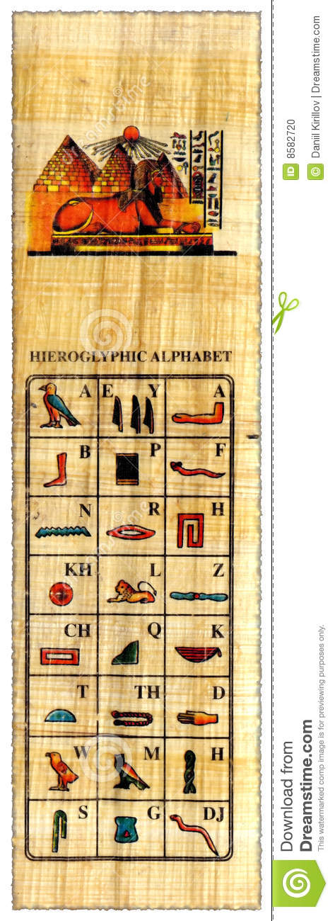 Egyptian Papyrus With Hieroglyphs Alphabet Stock Photo - Image ...