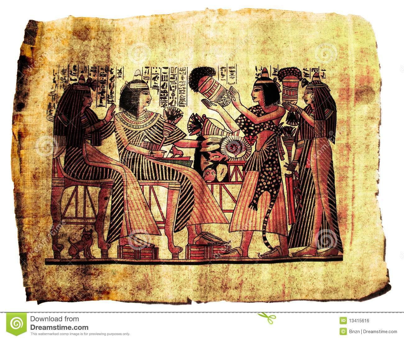 Egyptian papyrus painting royalty free stock image image for Egyptian fresco mural painting