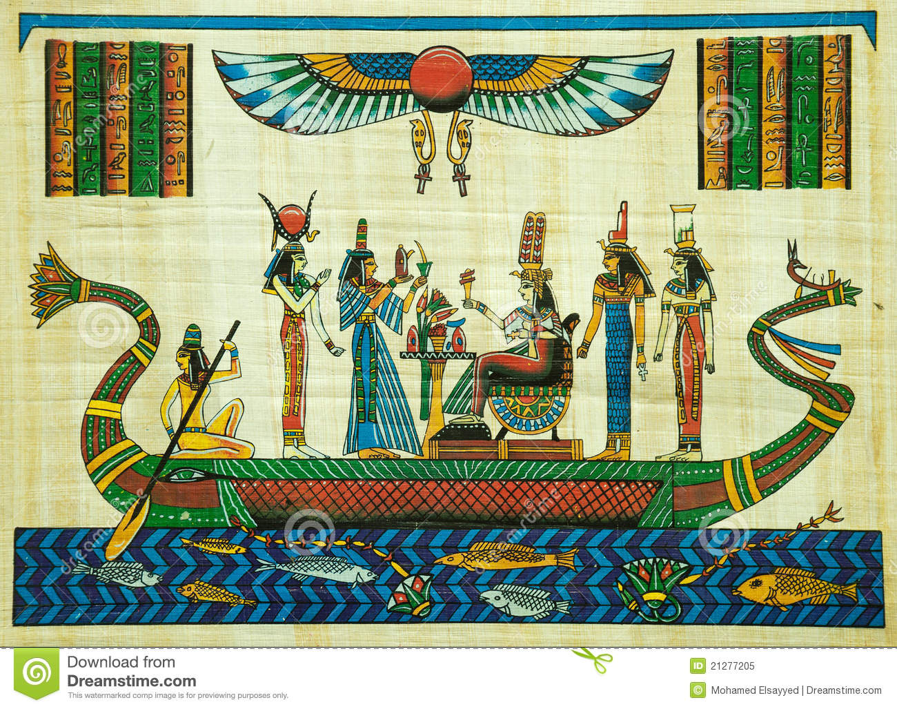 Egyptian papyrus painting editorial image image of for Egyptian mural art