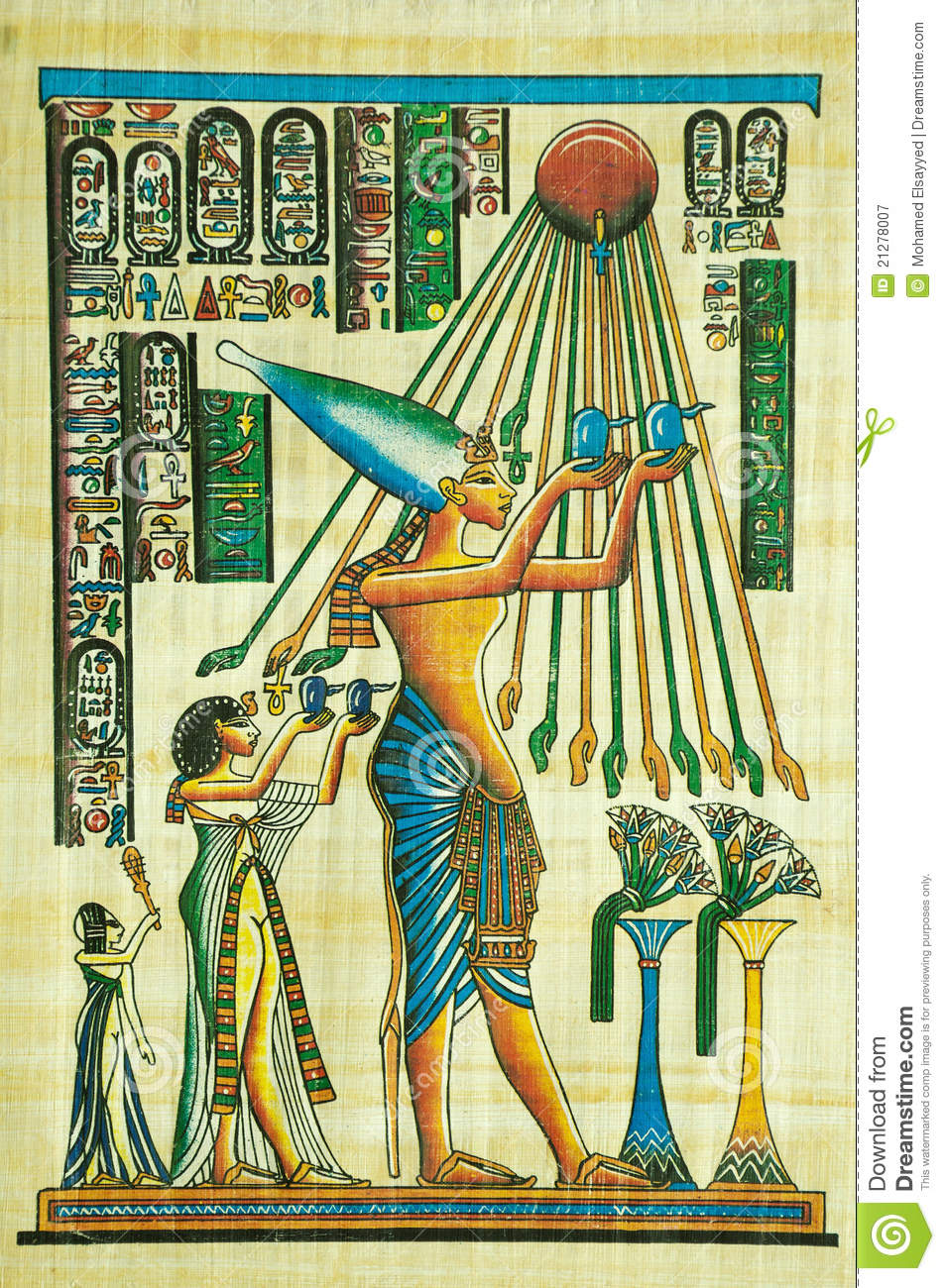Egyptian papyrus painting editorial photography image for Egyptian fresco mural painting