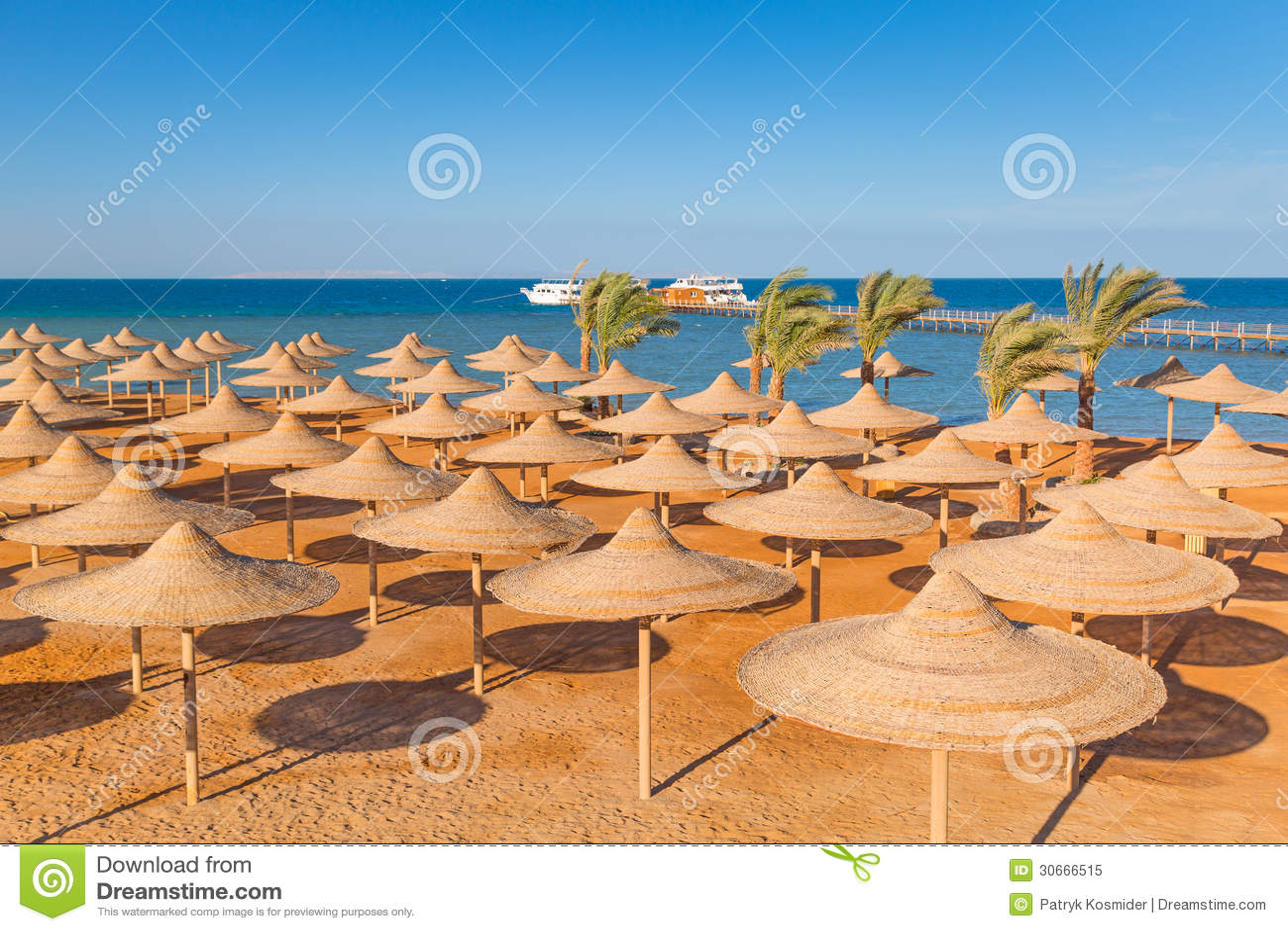 Egyptian parasols on the beach
