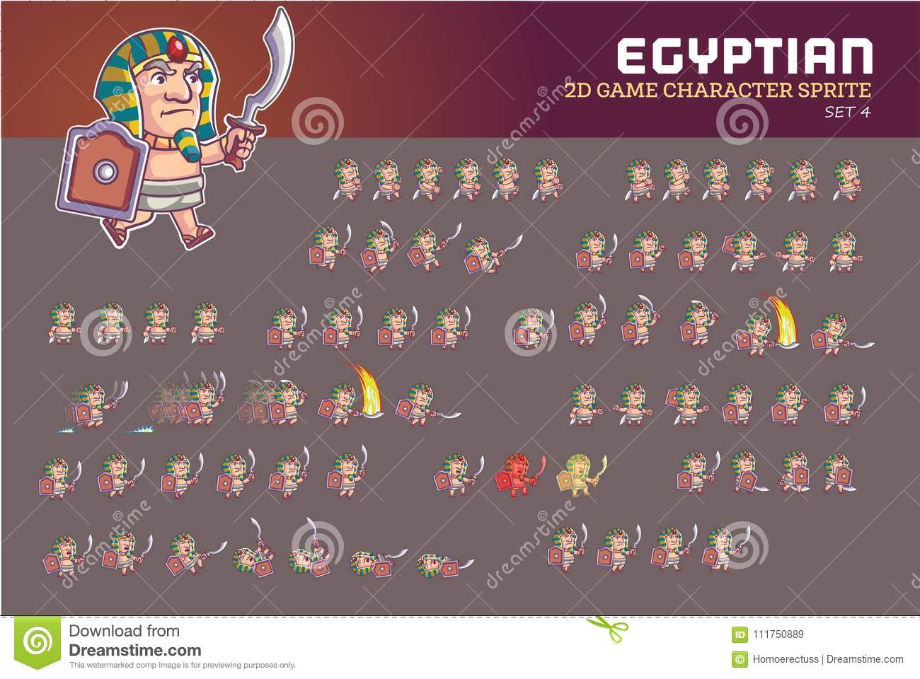 Egyptian Pharaoh Game Character Animation Sprite Stock Vector ...