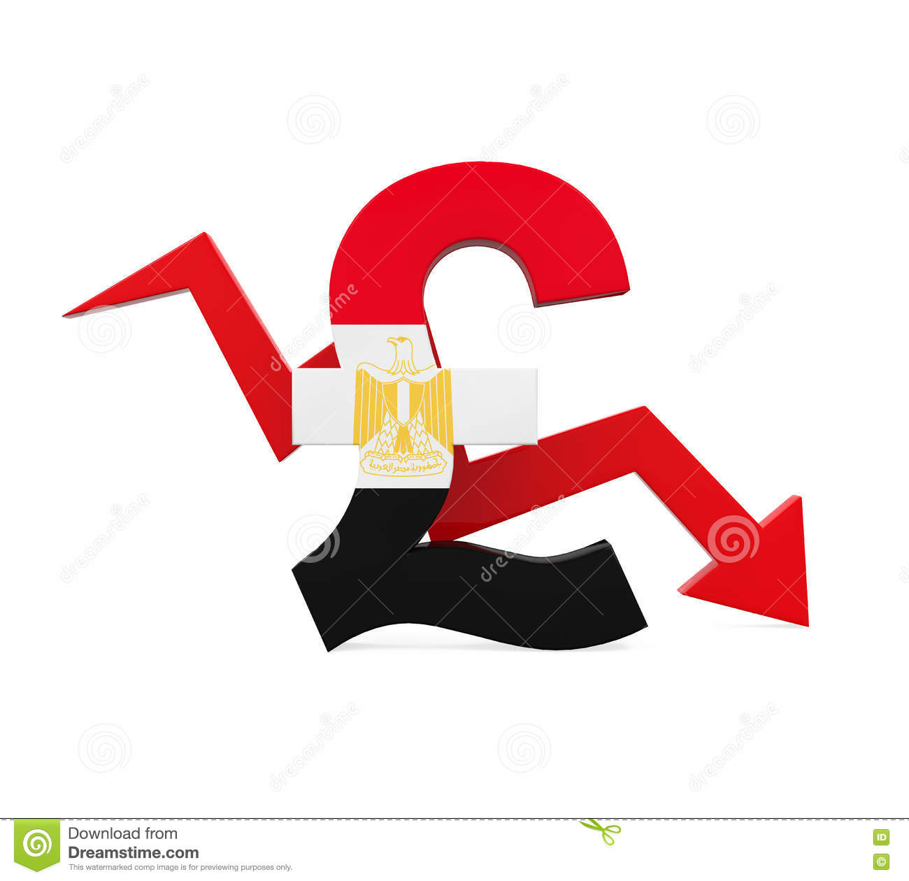 Egyptian Pound Symbol And Red Arrow Stock Illustration
