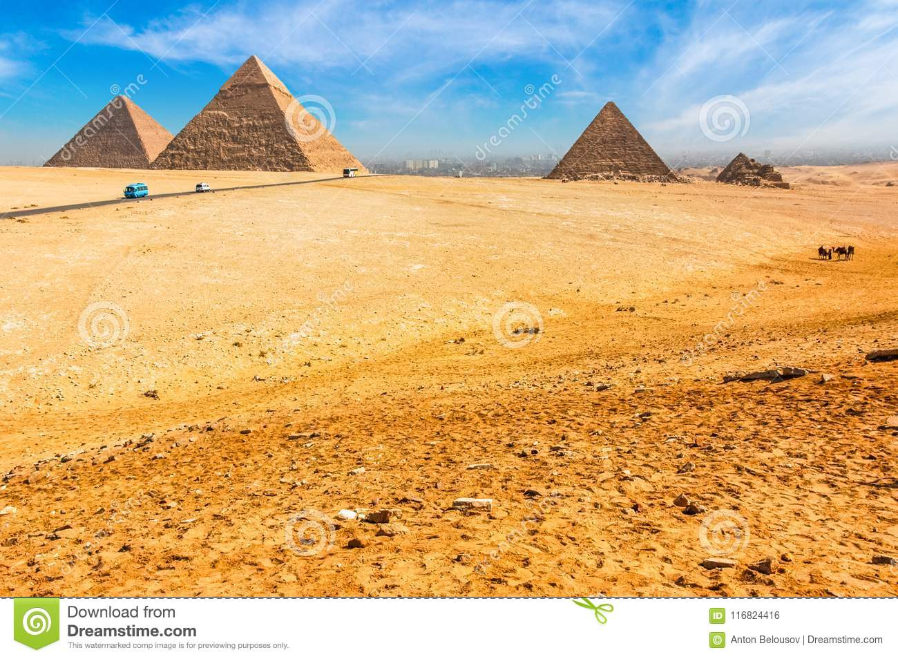 The Egyptian Pyramids Of Giza On The Background Of Cairo  Miracle Of