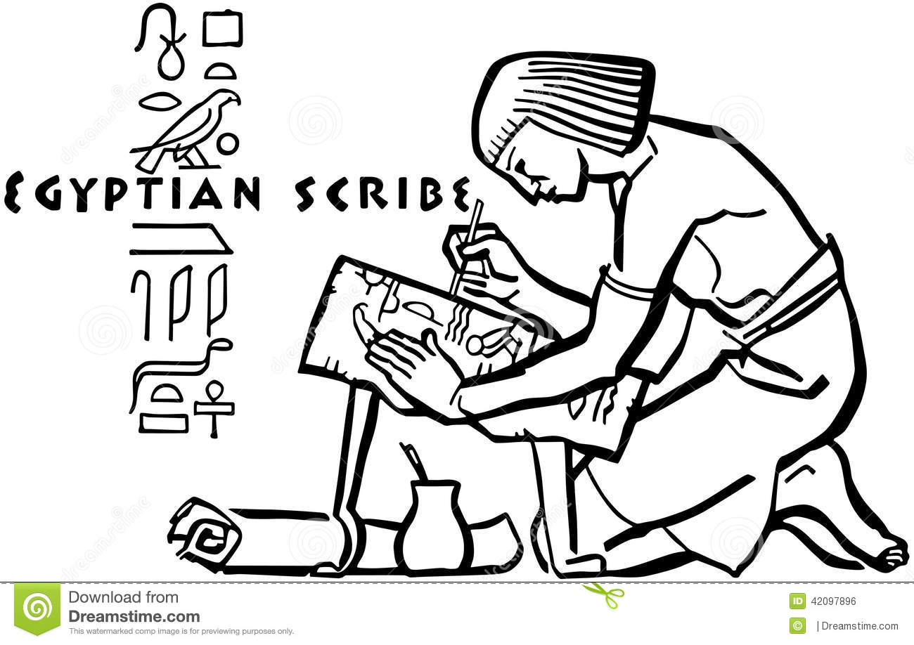 Egyptian Scribe stock vector. Image of pharoahs, 1950 ...