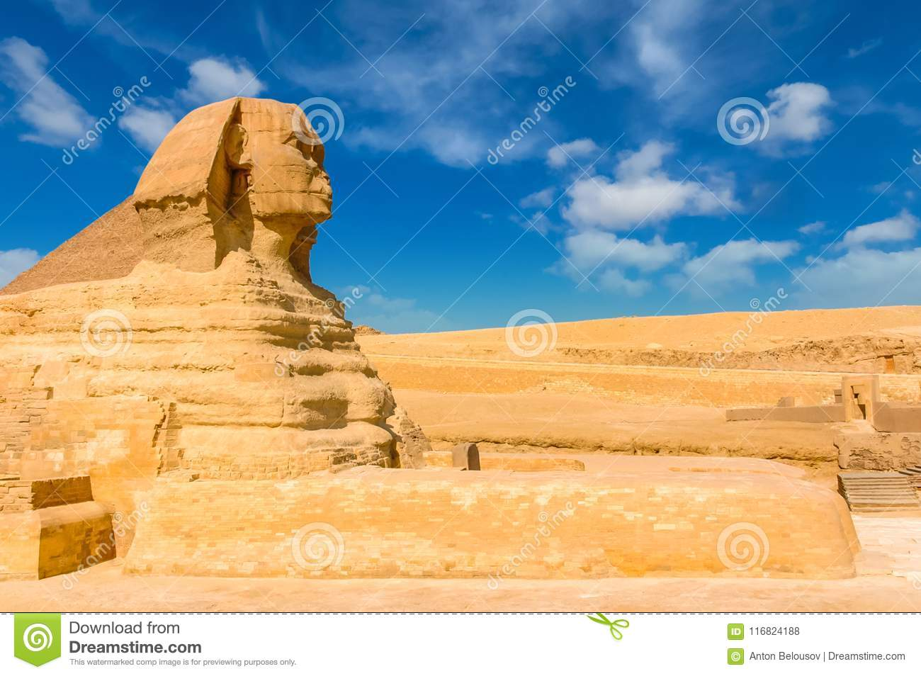 Egyptian sphinx. Cairo. Giza. Egypt. Travel background. Architectural monument. The tombs of the pharaohs. Vacation holidays back