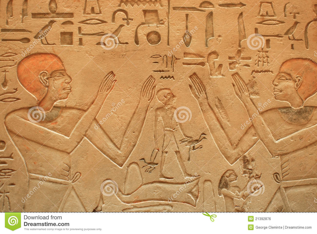 Egyptian stone wall carvings royalty free stock image