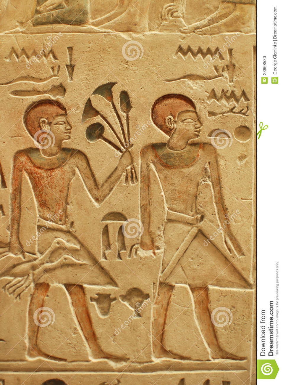 Egyptian stone wall carvings stock photo image