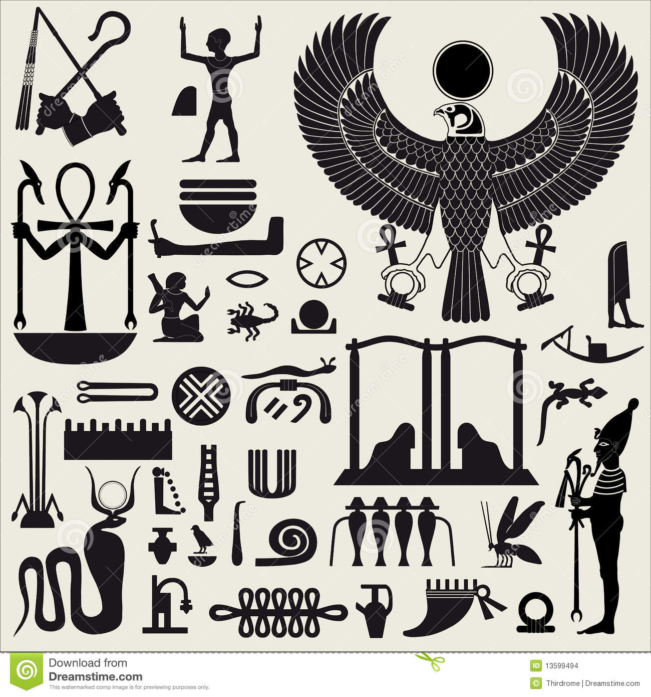 Egyptian Symbols And Signs 2 Stock Vector Illustration Of Pyramid