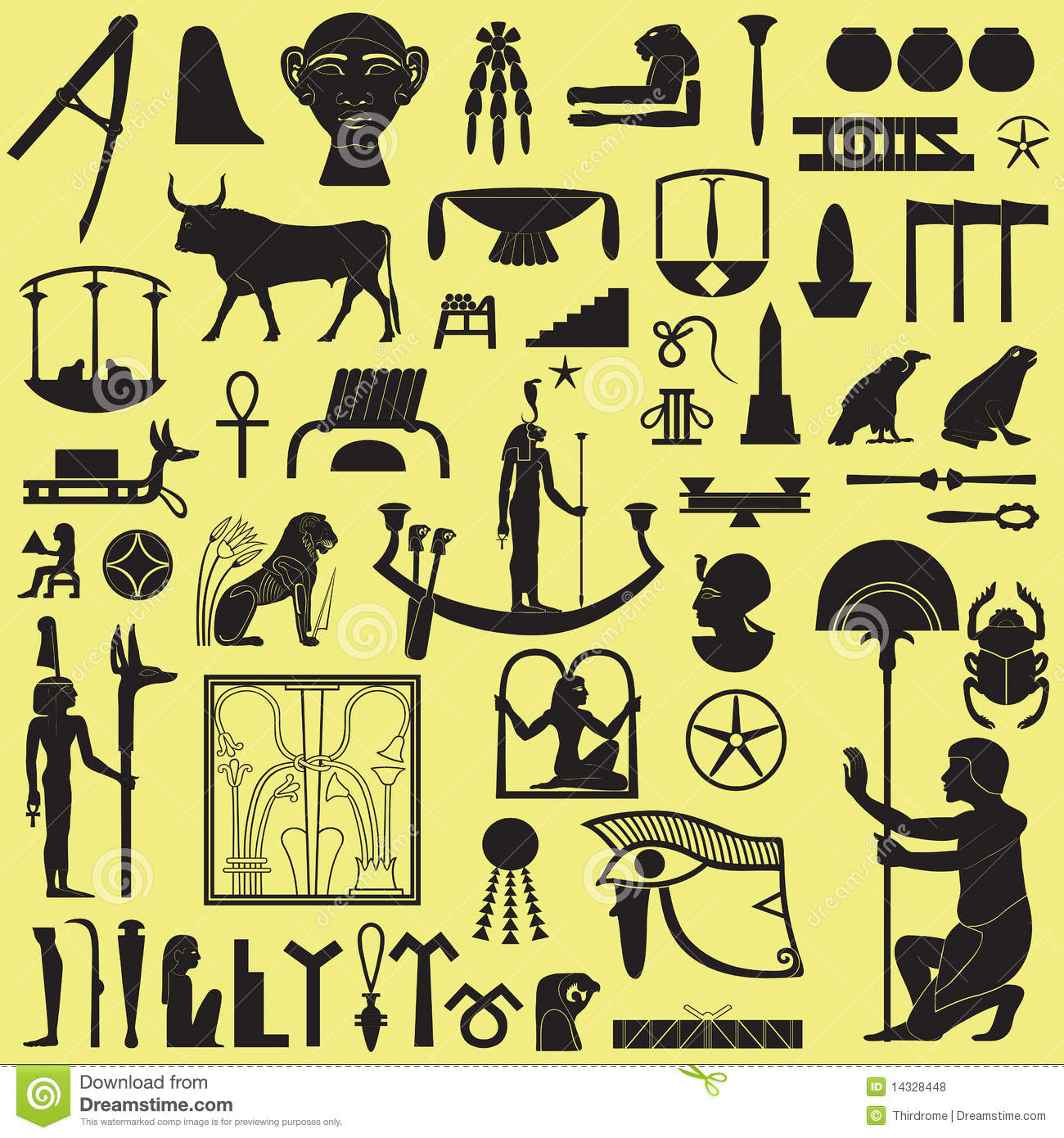 Egyptian Symbols And Signs 3 Royalty Free Stock Photos - Image ...
