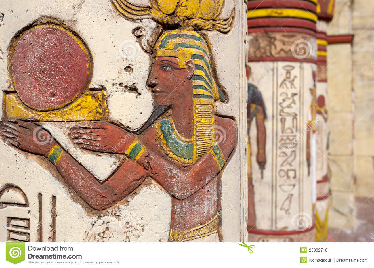 Egyptian wall paintings stock photo image of falcon for Ancient egyptian mural