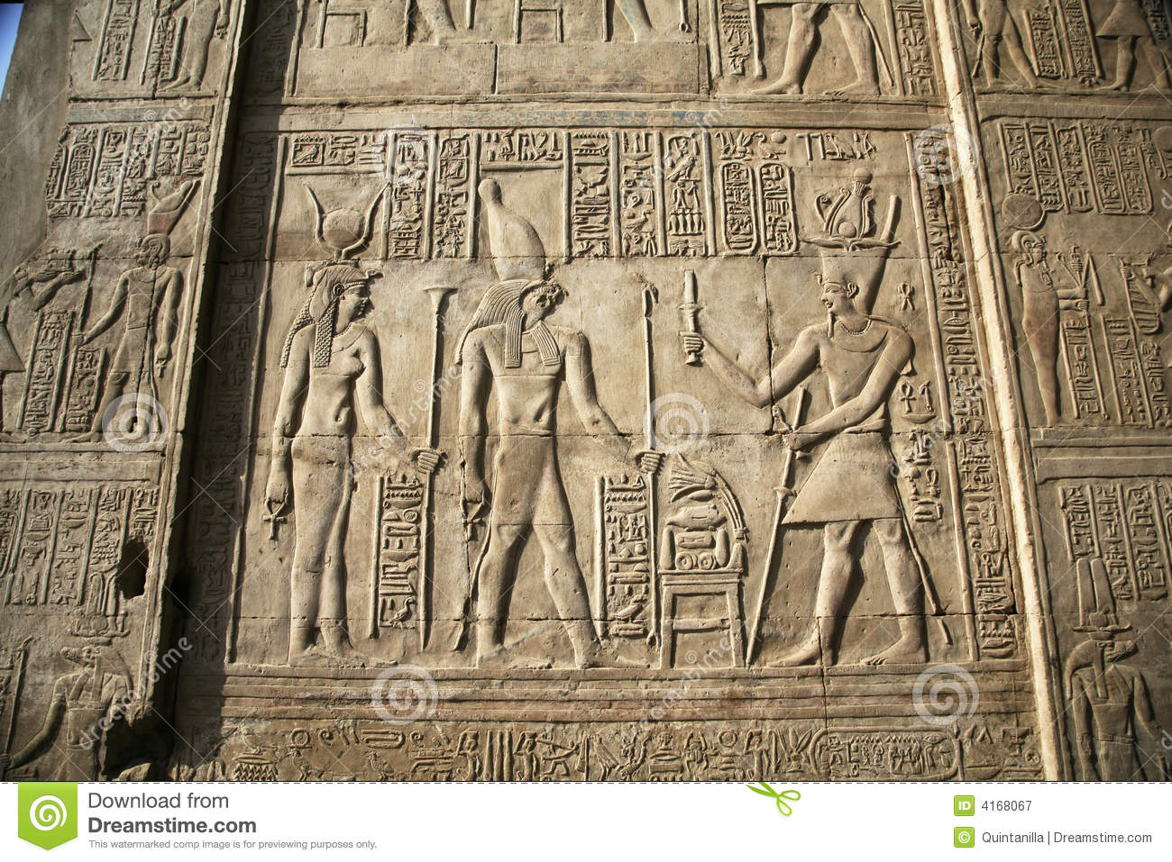 Egyptian wall relief royalty free stock photography