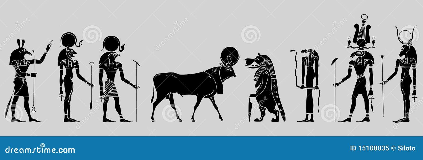 egyptische goden en godin vector illustratie. illustratie bestaande
