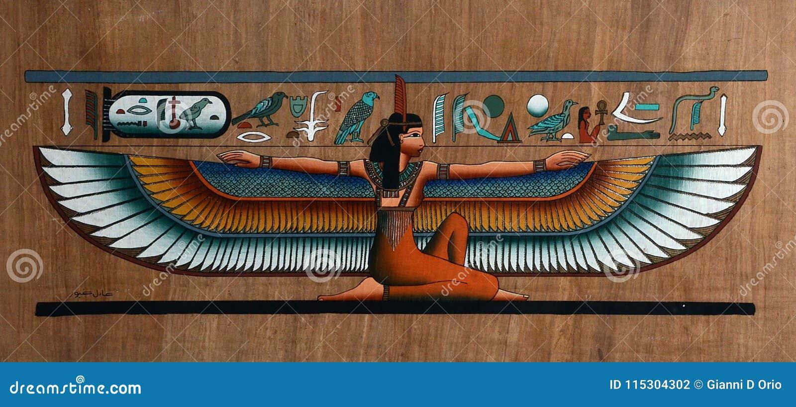 Egyptische papyrus met gevleugelde godin