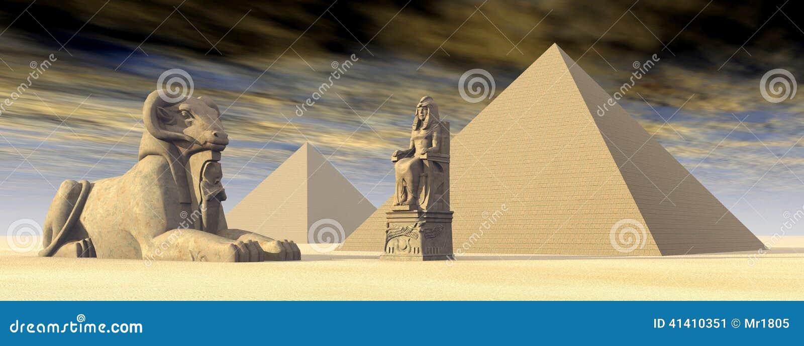 Egyptische Piramides en Standbeelden