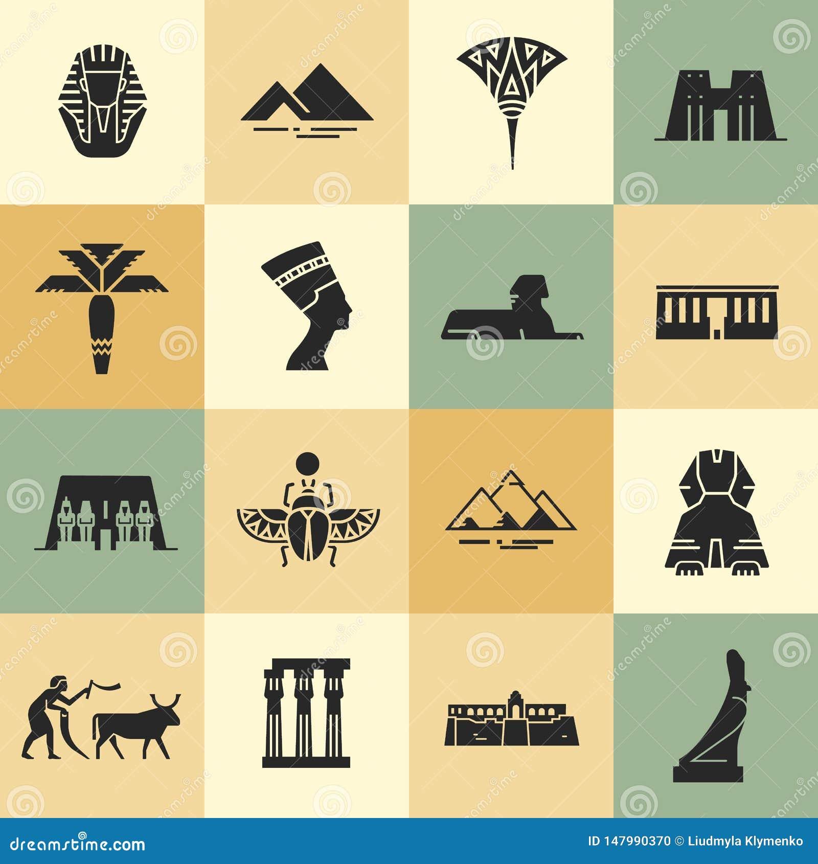 Egyptische symbolen, oriëntatiepunten, en beroemdheden in vlakke stijlpictogrammen