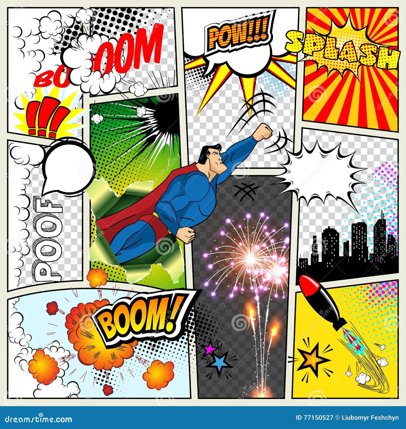 Egzamin próbny typowa komiks strona Wektorowego komiczka wystrzału sztuki bohatera pojęcia układu pusty szablon z chmurami promie