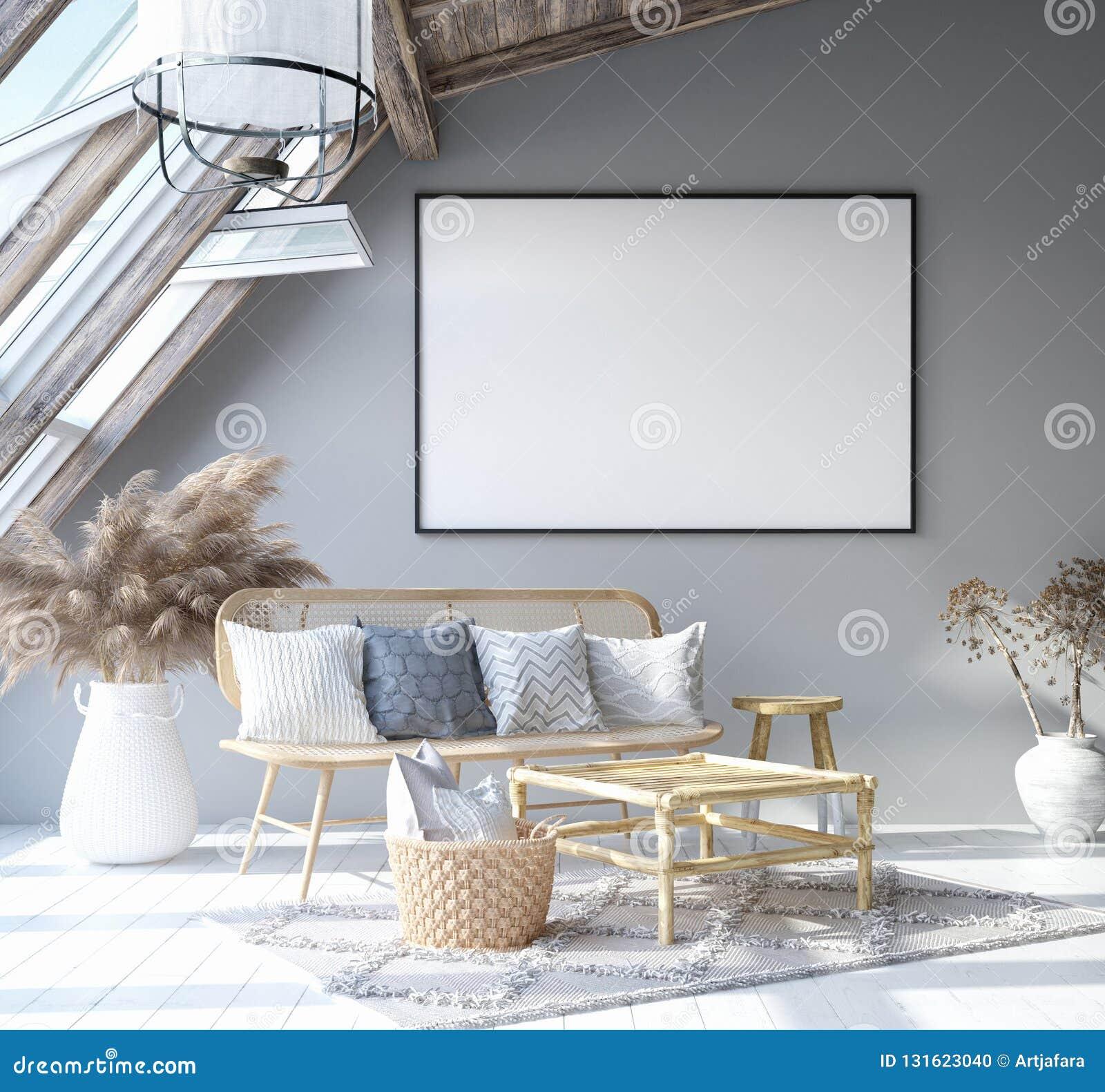 Egzamin próbny w górę plakat ramy w domowym wewnętrznym tle, Skandynawskiego czecha stylu żywy pokój w attyku