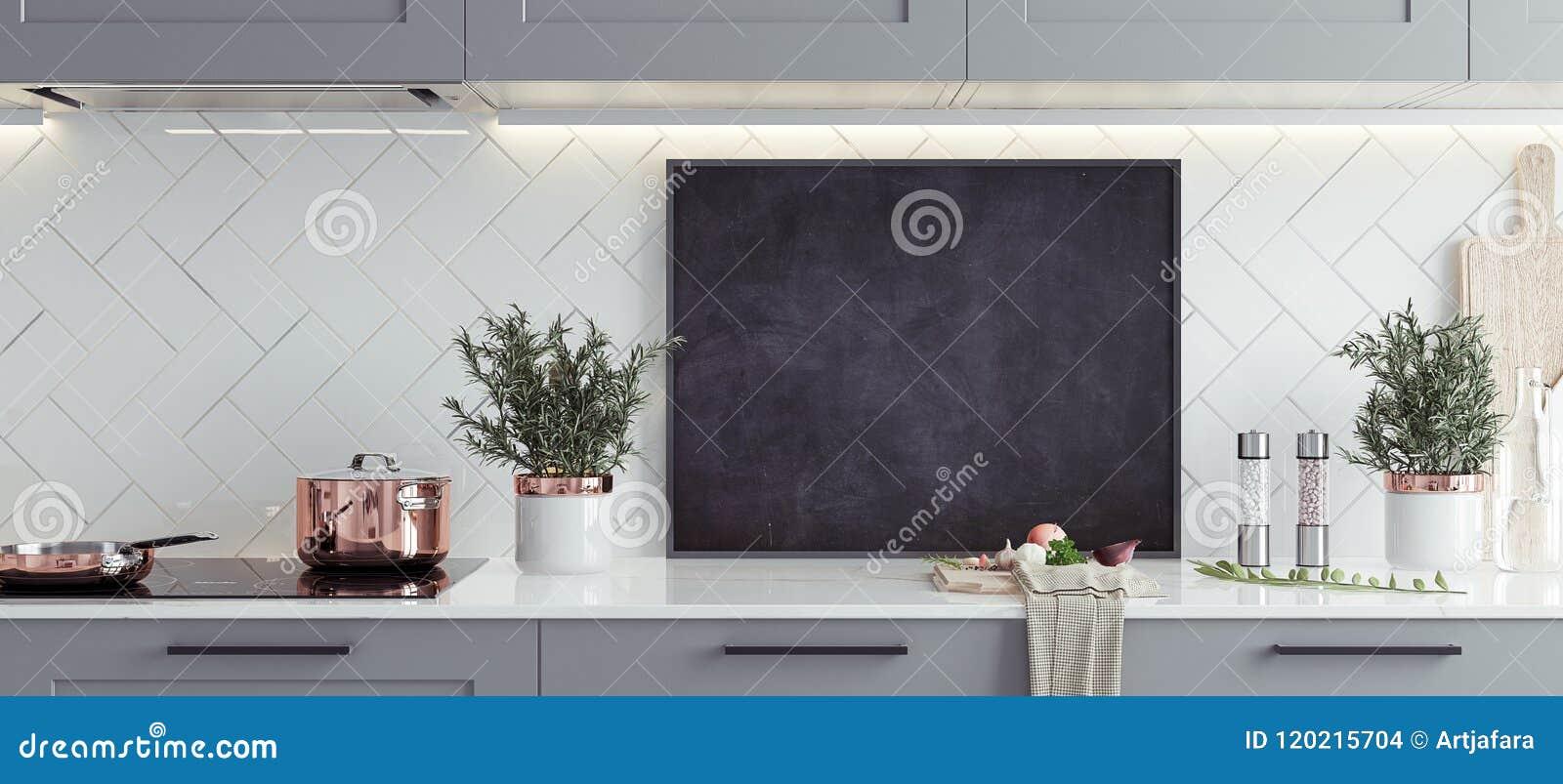 Egzamin próbny w górę plakat ramy w kuchennym wnętrzu, skandynawa styl, panoramiczny tło
